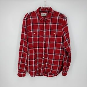 Lucky Brand Red Windowpane Check Button Up Sz L